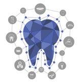 Polygonal μπλε διανυσματικό εικονίδιο δοντιών με τα οδοντικά εικονίδια Στοκ εικόνα με δικαίωμα ελεύθερης χρήσης