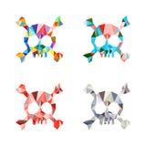 Polygonal πολύχρωμα κρανίο και κόκκαλα τριγώνων Σύνολο Πρότυπο Στοκ Φωτογραφίες
