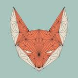 Polygonal πρόσωπο αλεπούδων Διανυσματικό γεωμετρικό κεφάλι αλεπούδων Στοκ Φωτογραφία