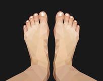 Polygonal πόδι που συλλαμβάνεται ανωτέρω στο μαύρο υπόβαθρο Στοκ Φωτογραφία