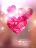 Polygonal ρόδινες καρδιές Στοκ φωτογραφία με δικαίωμα ελεύθερης χρήσης