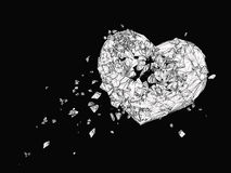 Polygonal σπασμένη καρδιά γραφική σε γραπτό Στοκ φωτογραφίες με δικαίωμα ελεύθερης χρήσης