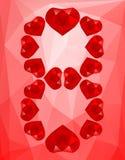 Polygonal στις 8 Μαρτίου υποβάθρου από τις καρδιές Στοκ Εικόνες