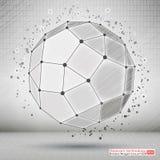 Polygonal στοιχείο Wireframe Τεχνολογική ανάπτυξη και επικοινωνία Αφηρημένο γεωμετρικό τρισδιάστατο αντικείμενο με τις λεπτές γρα διανυσματική απεικόνιση