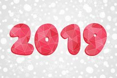 polygonal σύμβολο του 2019 Αφηρημένη απεικόνιση τριγώνων καλής χρονιάς απομονωμένο snowflakes ανασκόπησης Χριστούγεννα λευκό Διάν Στοκ φωτογραφία με δικαίωμα ελεύθερης χρήσης