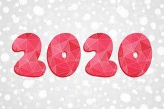 polygonal σύμβολο του 2020 Αφηρημένη απεικόνιση τριγώνων καλής χρονιάς απομονωμένο snowflakes ανασκόπησης Χριστούγεννα λευκό Διάν Στοκ φωτογραφία με δικαίωμα ελεύθερης χρήσης