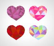 Polygonal σύνολο διαμαντιών καρδιών origami Στοκ φωτογραφίες με δικαίωμα ελεύθερης χρήσης