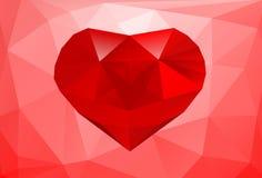Polygonal υπόβαθρο με τη μεγάλη κόκκινη καρδιά Στοκ Εικόνα