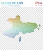 Polygonal χάρτης νησιών ένωσης, νησί ύφους μωσαϊκών διανυσματική απεικόνιση