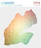 Polygonal χάρτης του Τζιμπουτί, χώρα ύφους μωσαϊκών διανυσματική απεικόνιση