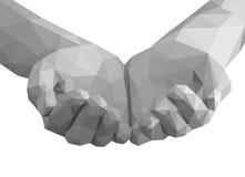 Polygonal χέρια που γίνονται κοίλα όπως κενό έναν μονοχρωματικό φλυτζανιών Στοκ φωτογραφία με δικαίωμα ελεύθερης χρήσης