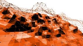Polygonal ψηφιακό δομένος περιβάλλον μωσαϊκών ή κυματίζοντας υπόβαθρο στο χαμηλό πολυ δημοφιλές σύγχρονο τρισδιάστατο σχέδιο κινο απόθεμα βίντεο