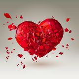 Polygonal 3D Broken Heart On Low Poly Background Royalty Free Stock Images