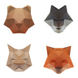 Polygonal abstract animal head on white background.  stock illustration