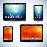 Polygonal Abstract Background on Mobile Devices. With Icons Vector Illustration Stock Photography