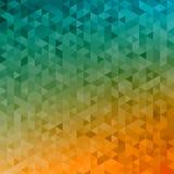 Polygonal abstract Background - yellow, orange, turquoise. Polygonal vector mosaic - yellow, orange, turquoise - autumn colors Stock Photo