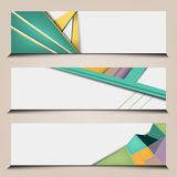 Polygonal abstract banners set. Vector banners set with polygonal abstract shapes and lines Royalty Free Stock Photo