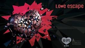 Polygonal broken heart moving on dark BG vector illustration