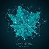 Polygonal abstract futuristic template, low poly sign on dark blue background. Vector lines, dots and triangle shapes vector illustration
