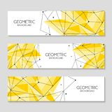 Polygonal Abstract Futuristic Yellow Template, Low Poly Sign. Vector Lines, Dots And Triangle Shapes, Connecting Network. Stock Image