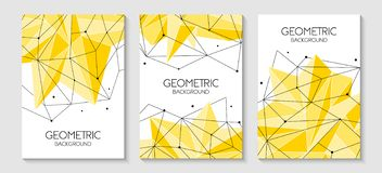 Polygonal abstract futuristic yellow template, low poly sign. Vector lines, dots and triangle shapes, connecting network. royalty free illustration