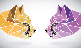 Polygonal abstract geometric triangle cheetah. low poly color heads Royalty Free Stock Images