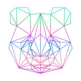 Polygonal abstract panda silhouette drawn in one continuous line Stock Photo