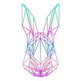 Polygonal abstract rabbit silhouette drawn in one continuous lin Stock Photography