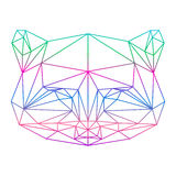 Polygonal abstract raccoon silhouette drawn in one continuous li Stock Images