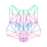 Polygonal abstract wolf silhouette drawn in one continuous line Royalty Free Stock Image