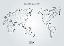 Polygonal abstract world map, Asia in the center. Vector illustration Stock Photos