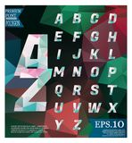 Polygonal alphabet, faceted capital letters on abstract backgrou Royalty Free Stock Image