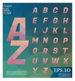 Polygonal alphabet, faceted capital letters on abstract backgrou Stock Photos