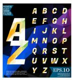 Polygonal alphabet, faceted capital letters on abstract backgrou Stock Photo