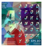 Polygonal alphabet, faceted capital letters on abstract   Royalty Free Stock Images