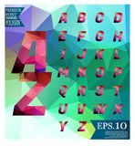 Polygonal alphabet, faceted capital letters on abstract   Royalty Free Stock Photography