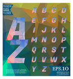 Polygonal alphabet, faceted capital letters on abstract   Royalty Free Stock Photo
