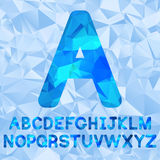 Polygonal alphabet vector. Set of letters low poly style. Blue polygonal mosaic alphabet. Vector font royalty free illustration