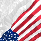 Polygonal American flag waving in the wind. Template for postcards, covers, flyers, posters, congratulations for American national holidays - Independence Day Royalty Free Stock Photo
