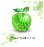Polygonal apple. Green apple in poygonals on a white background Royalty Free Stock Photography