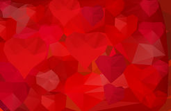 Polygonal background with hearts Royalty Free Stock Photos