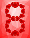 Polygonal background March 8 from hearts Stock Photo