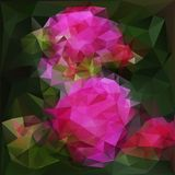 Polygonal background with pink flowers Stock Photo