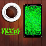 Polygonal background on screen of your smartphone Stock Photo
