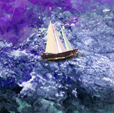 Polygonal background with sea, sailboat and sky Stock Photo