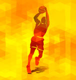 Polygonal background with a silhouette of a basketball player Stock Images