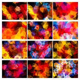 Polygonal backgrounds colorful set Royalty Free Stock Image