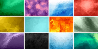Polygonal Backgrounds. Set of polygonal triangular colorful backgrounds Stock Photos