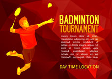 Polygonal badminton player, sports poster Stock Image