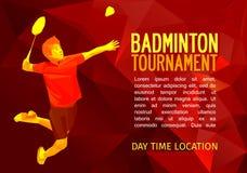 Polygonal badminton player, sports poster Stock Image